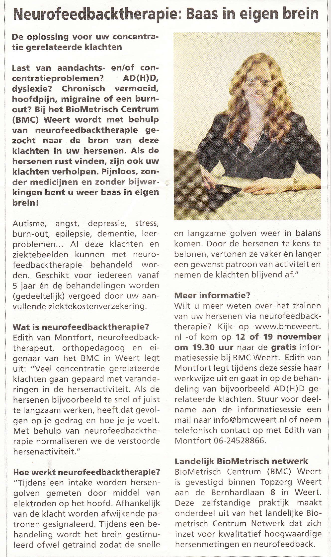 Neurofeedback baas in eigen brein - Weekblad Nederweert